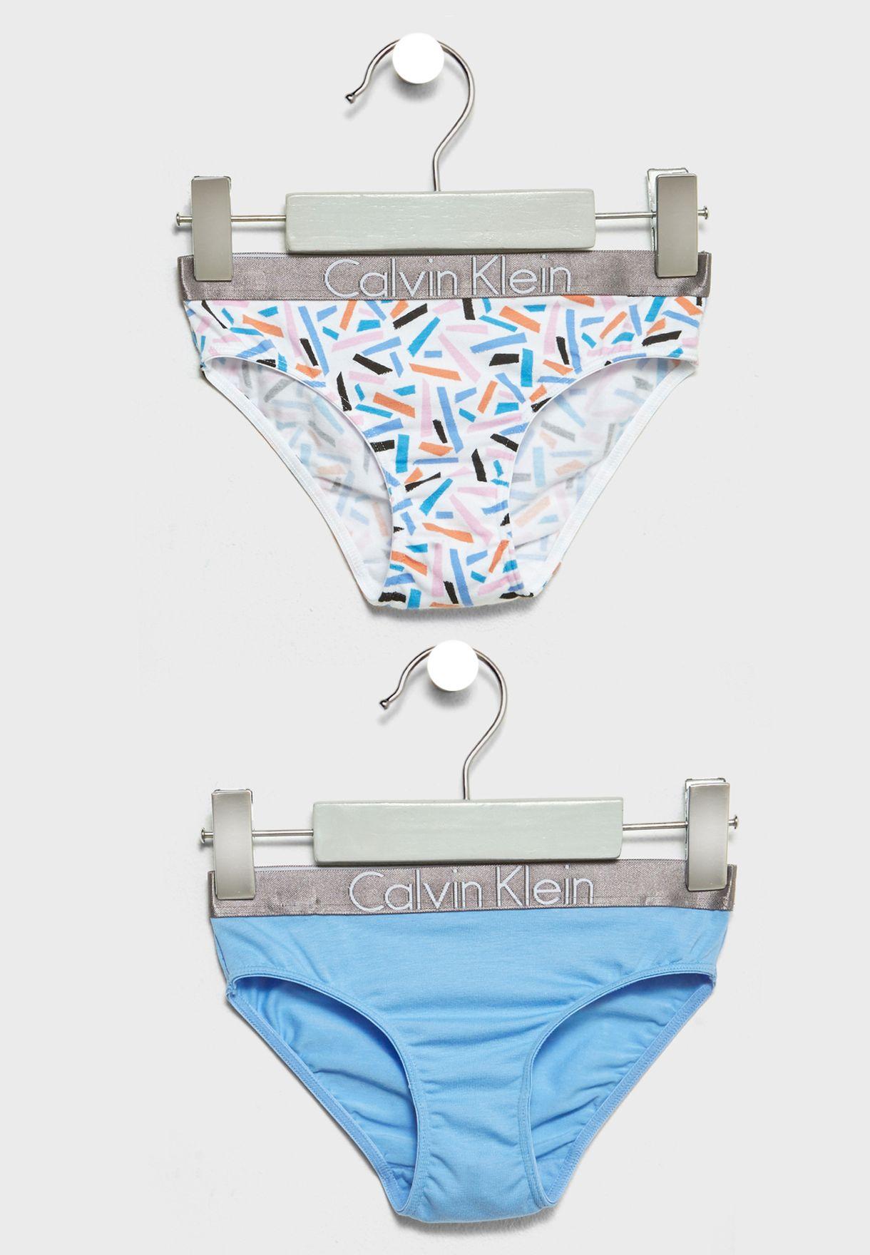 8624ab6eb29bc Shop Calvin Klein multicolor Little 2 Pack Bikini Briefs G80G800159 ...