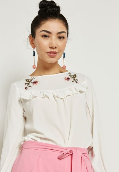 Frill Detail Embroidered Top
