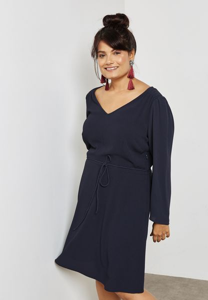V-Neck Tie Waist Dress