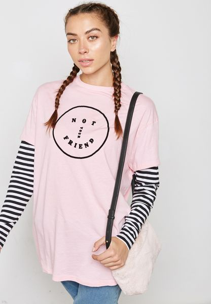 Striped Sleeve Slogan T-Shirt