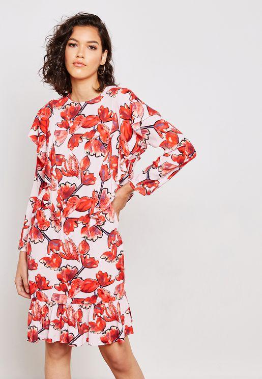 فستان بطبعات ورود