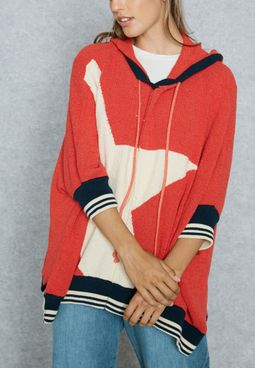 Star Print Oversized Sweater Hoodie