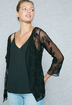 Embroidered Lace Sheer Cardigan