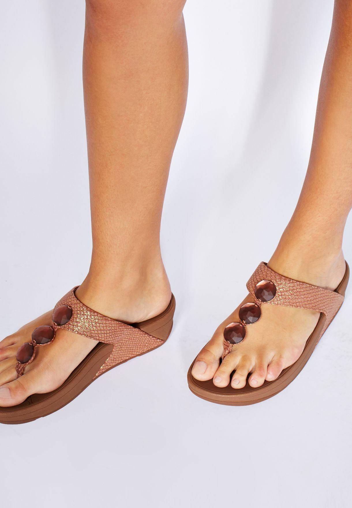 70e3ca8305992c Shop Fitflop bronze Petra Sandals 476-295 for Women in Saudi ...