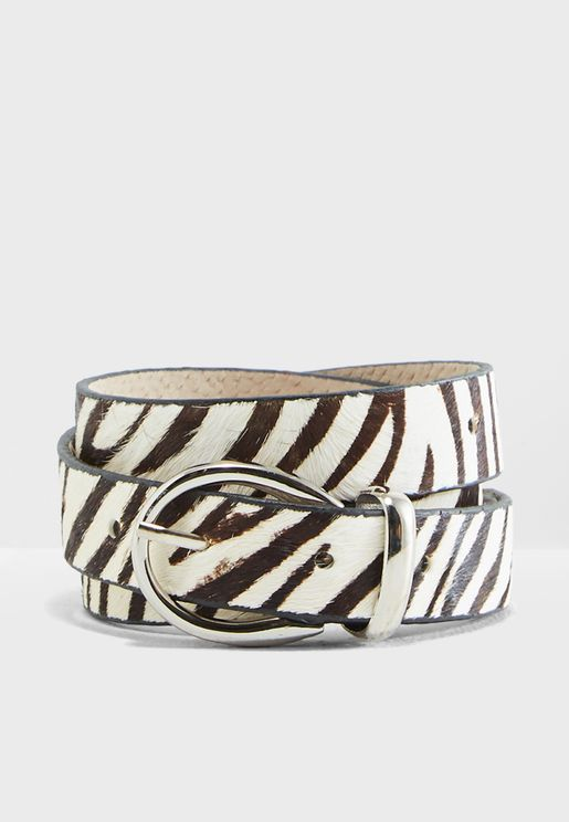 Faux Pony Hair Zebra Print Belt