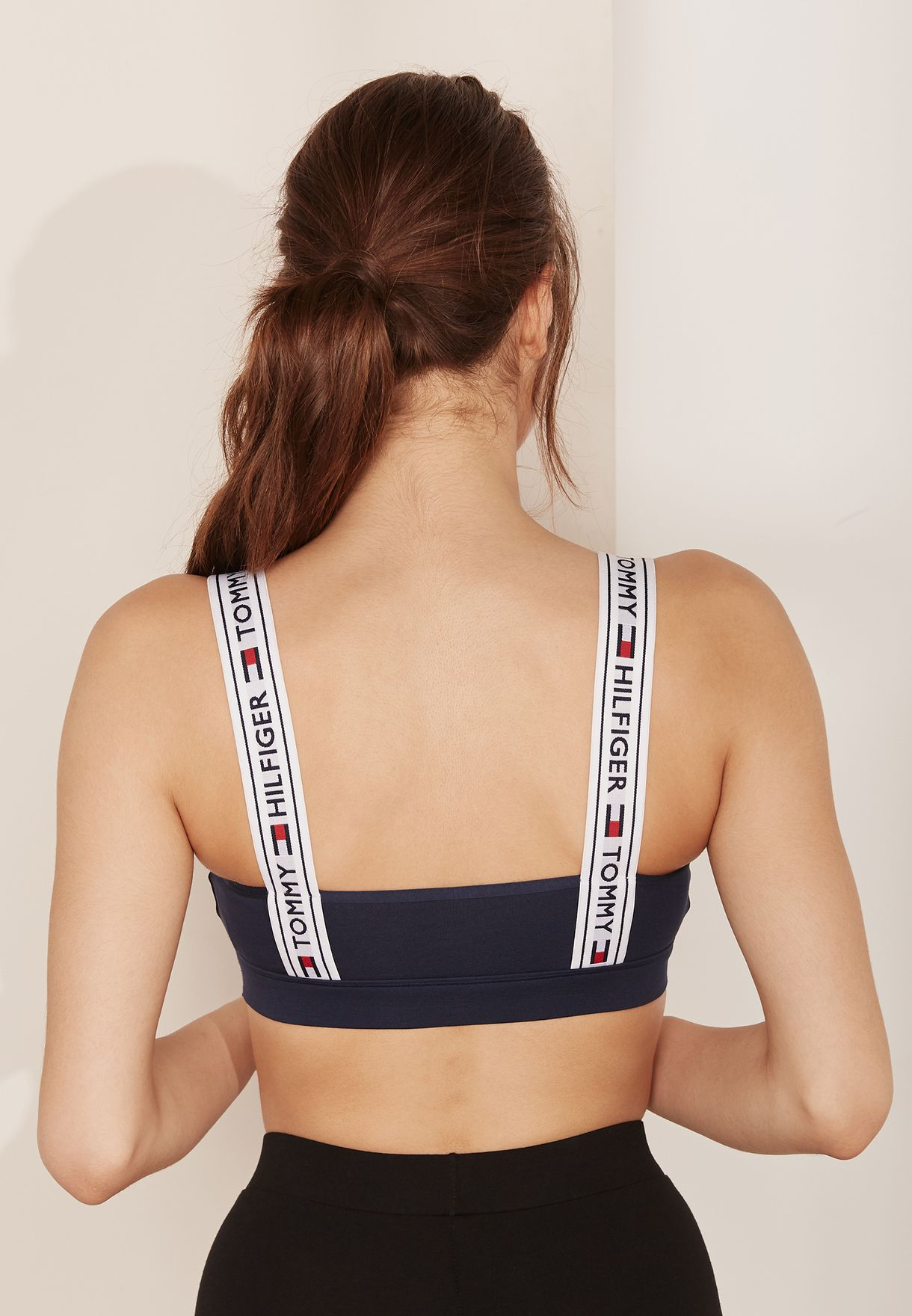 ca5d71a5f9376 Shop Tommy Hilfiger navy Logo Detail Sports Bra UW0UW00531 for Women in  Saudi - TO279AT11GGE