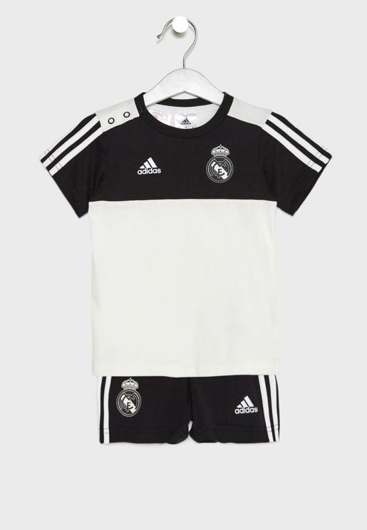 Infant Real Madrid 3 Stripe T-Shirt + Shorts Set