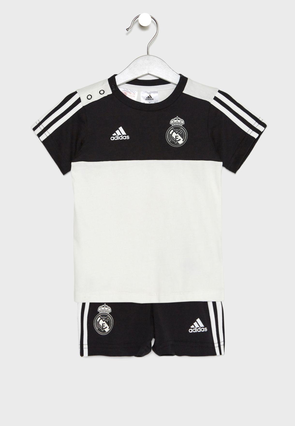 2c9cc0eef Shop adidas white Infant Real Madrid 3 Stripe T-Shirt + Shorts Set ...