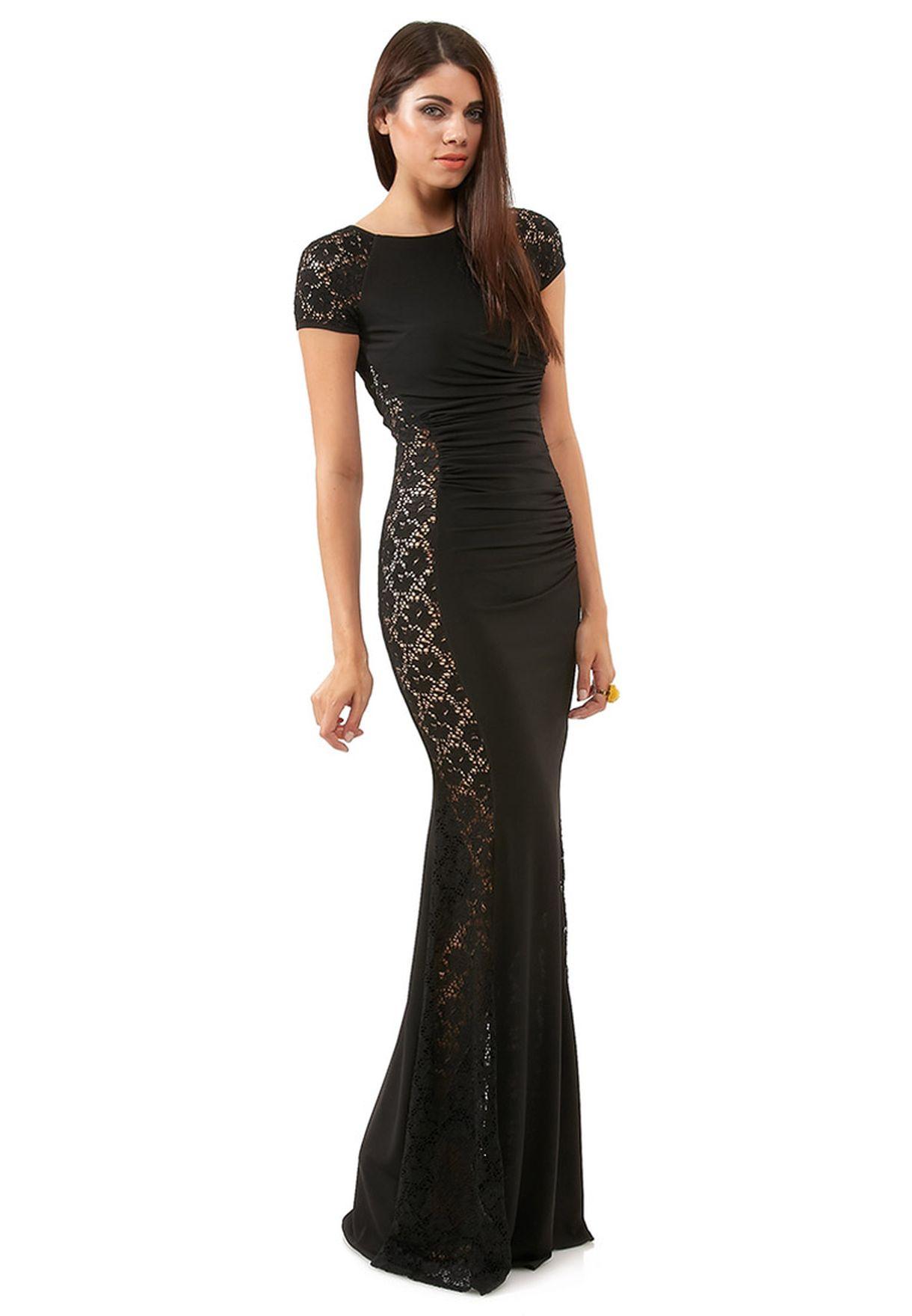 89df7b24f3e Shop Goddiva black Ruched Lace Maxi Dress for Women in UAE ...