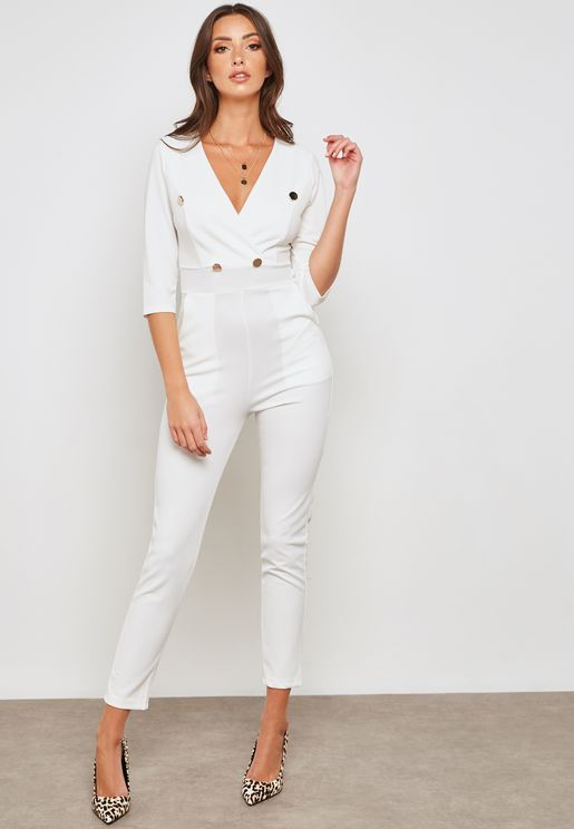 Wrap Front Button Detail Jumpsuit