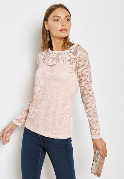 Velvet Trim Lace Top