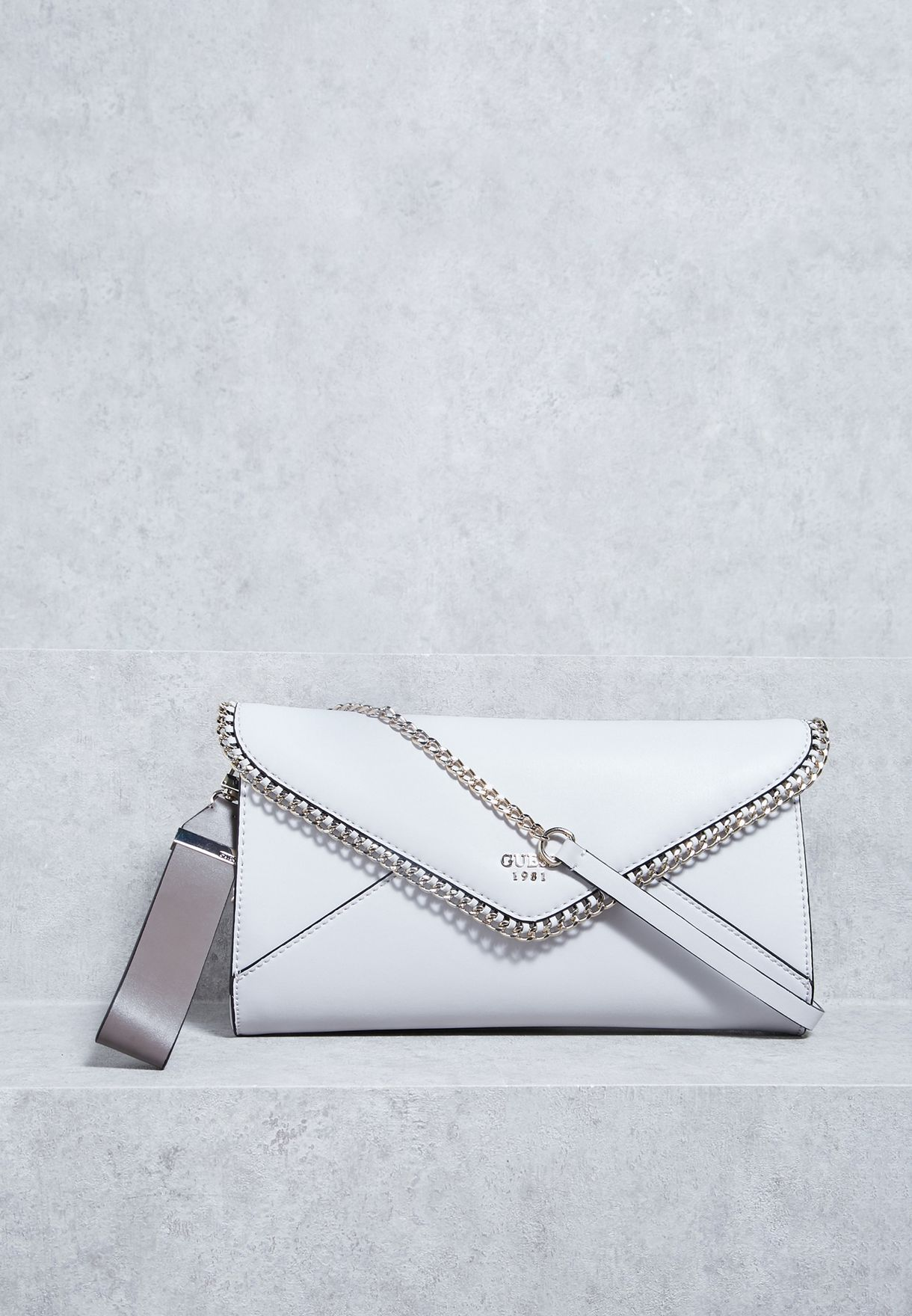 Shop Guess grey Johanna Envelope Clutch VG662127 for Women in UAE ... 7f7aab62e569a