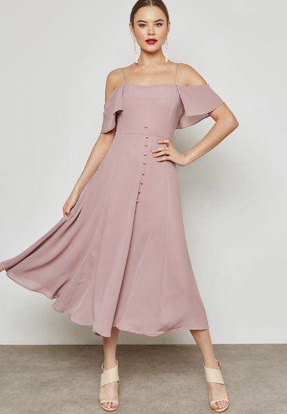 Button Cold Shoulder Maxi Dress