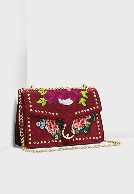 Velvet Floral Embroidery Crossbody