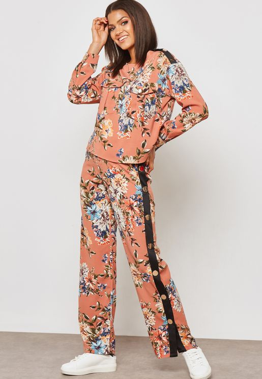 Floral Print Contrast Side Popper Pants