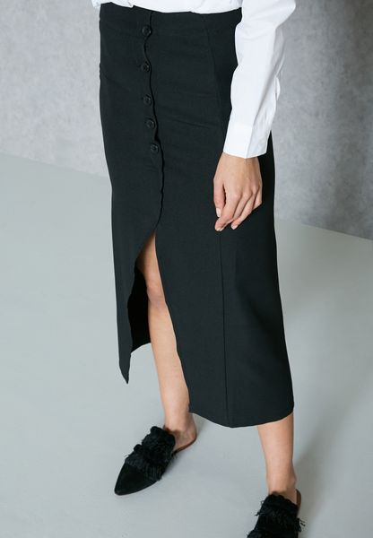 Button Front Slit Skirt