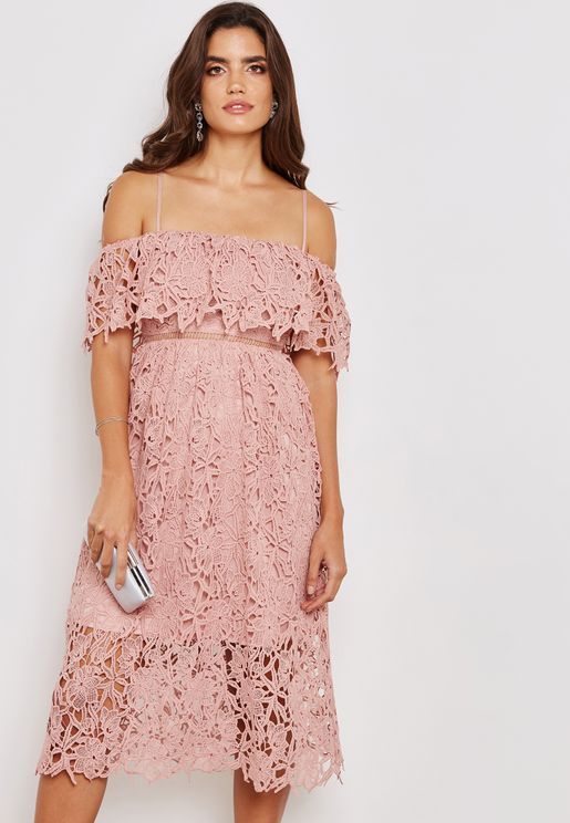 Bardot Crochet Lace Midi Dress