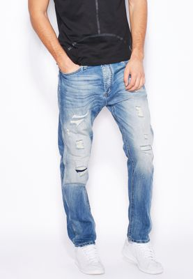 Jack & Jones Erik Slim Fit Mid Wash Ripped Jeans