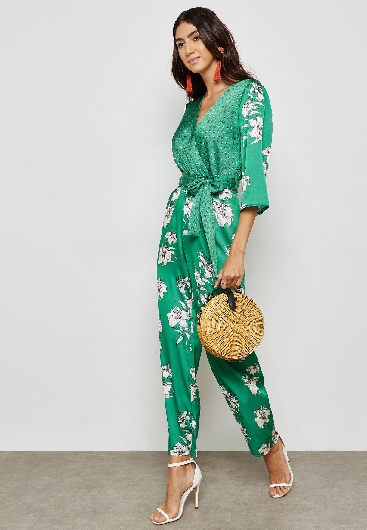 5d824b033baa Shop Ella prints Floral Print Wrap Front Jumpsuit NA09-7535 for Women in  UAE - EL314AT01UCG