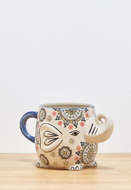 Painted Elephant Shaped Mug