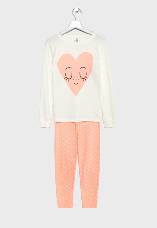 Kids Heart Pyjama Set