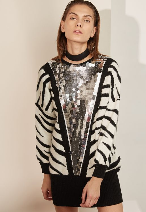 Sequin Detail Animal Print Sweater
