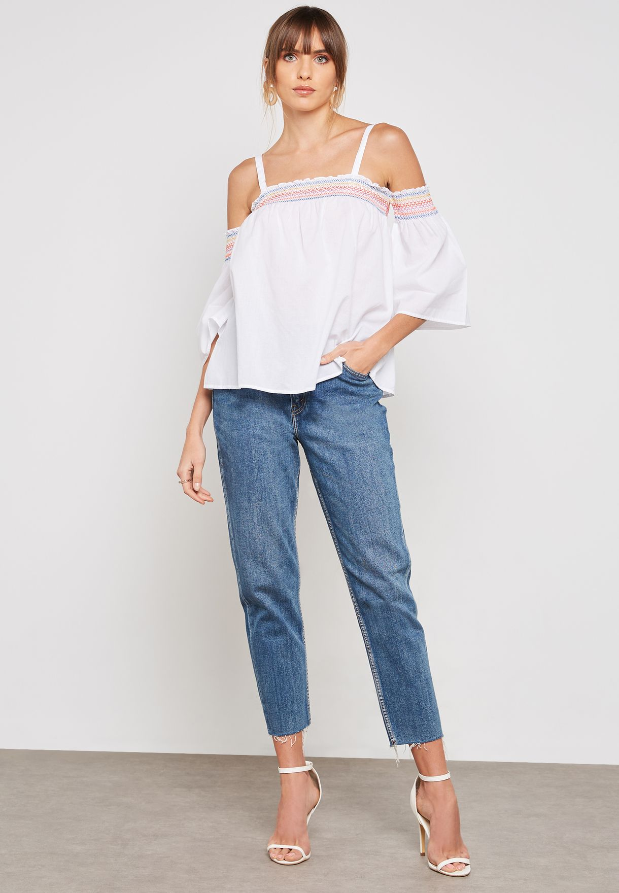 Embroidered Detail Cold Shoulder Top