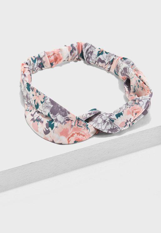 Pink Floral Twist Knot Headband