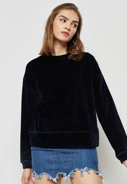 High Neck Velvet Sweater