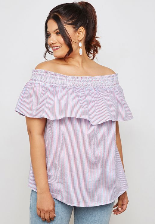 Shirred Striped Bardot Top