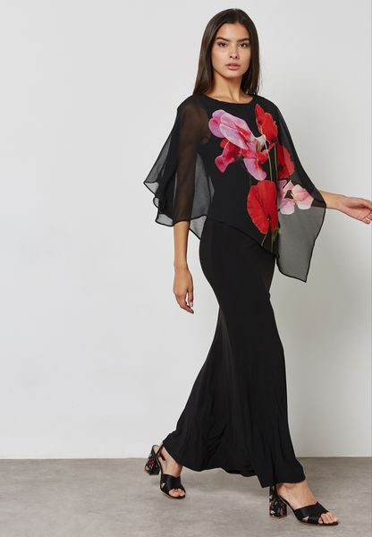 Floral Print Overlay Maxi Dress