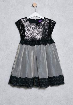 Kids Shimmer Lace Dress