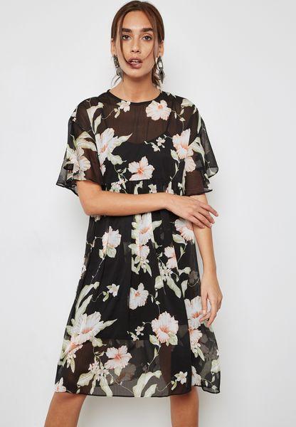 فستان شبك بطبعات