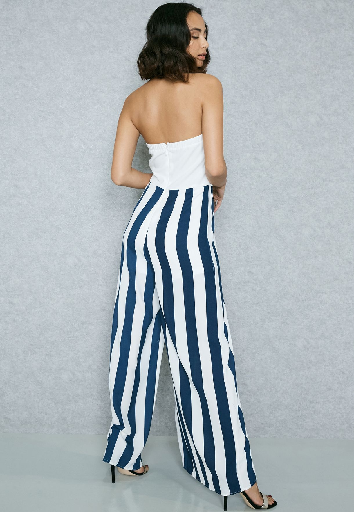 81e1b5155a49 Shop Soieblu multicolor Front Split Bandeau Striped Jumpsuit D16562 ...