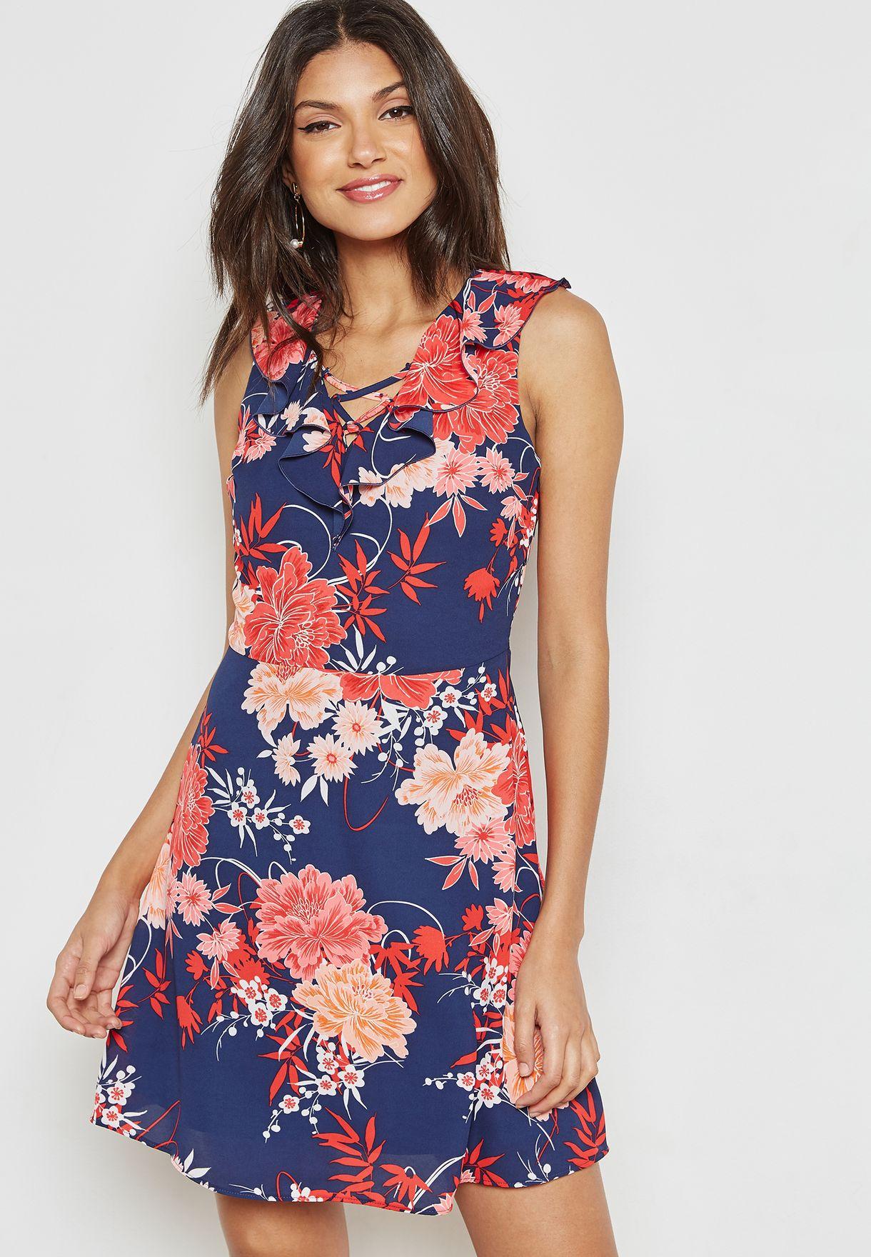 Floral Print Ruffle Skater Dress