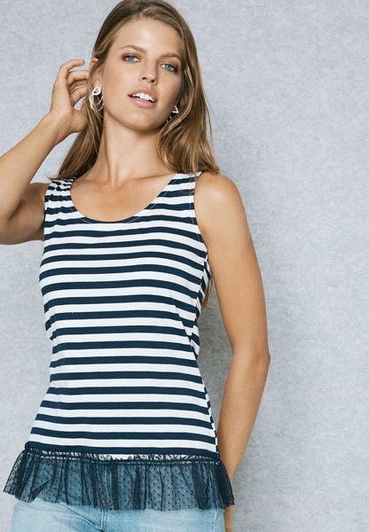 Stripe Mesh Hem Dress