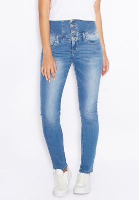 Ginger High Waisted Button Up Skinny Jeans