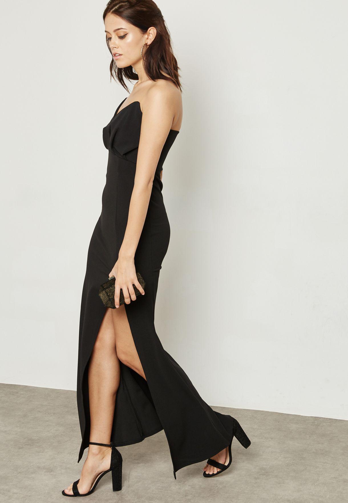 070f90213a Shop Missguided black Bandeau Wrap Top Maxi Dress DE914947 for Women ...