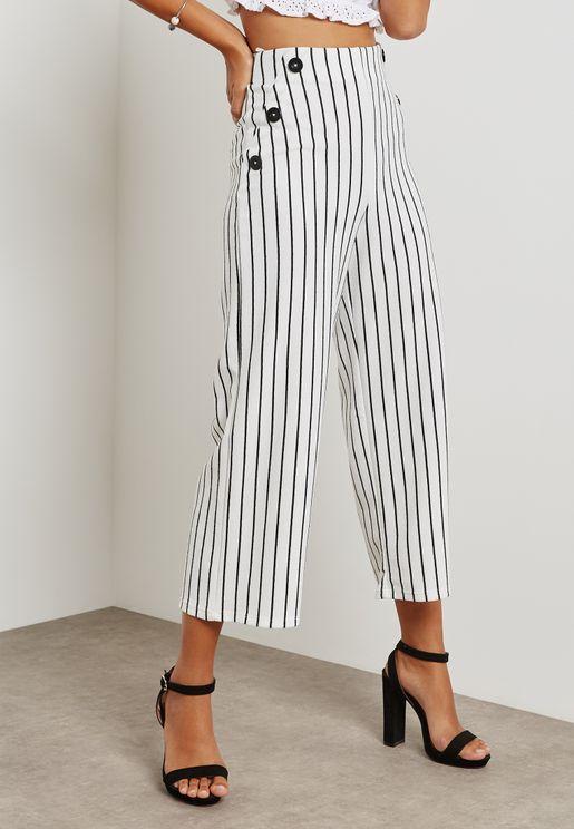 Stripe Buttoned Wide Leg Pants