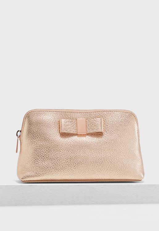 Dennis Bow Leather Makeup Bag