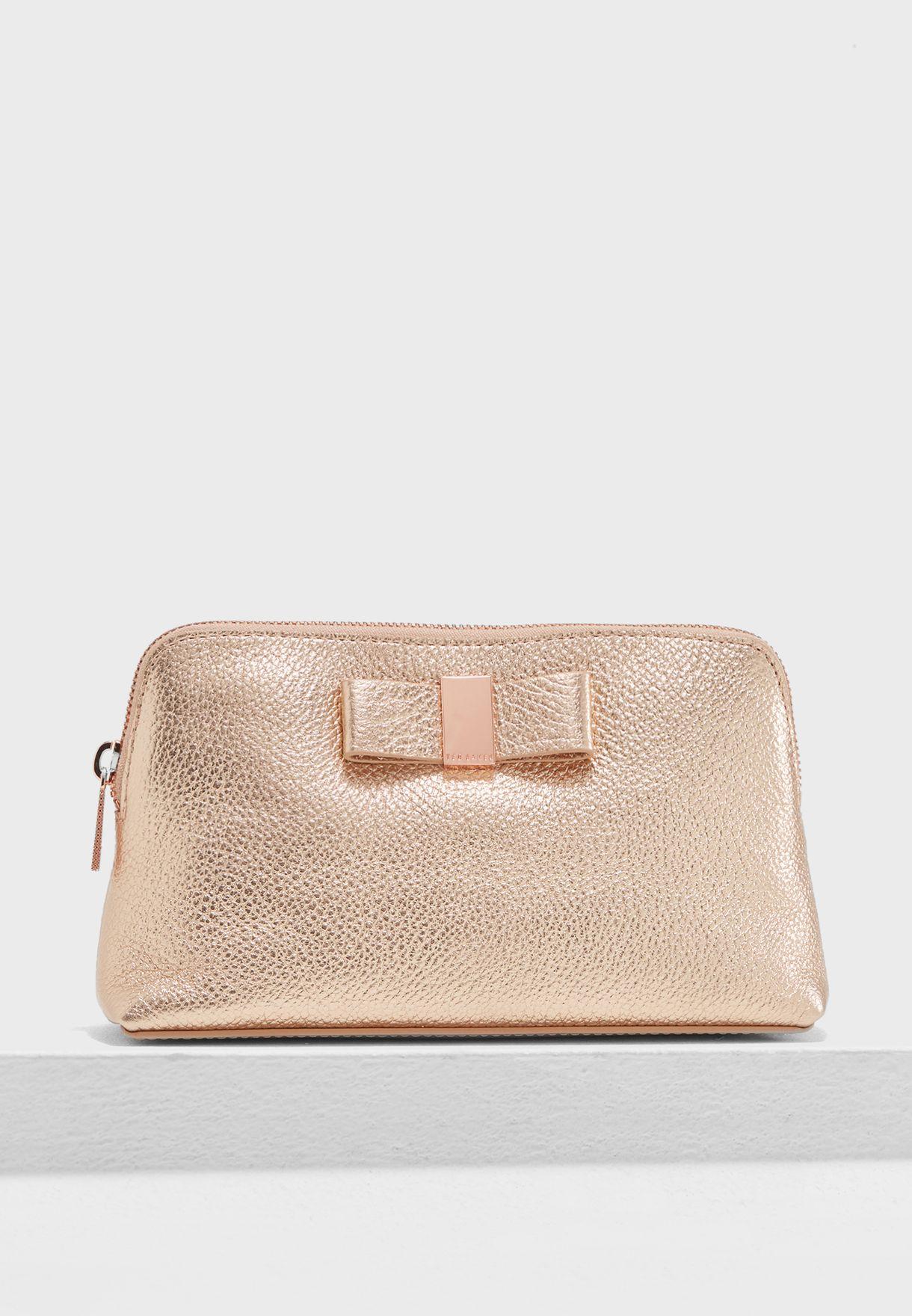 59a0fe0e31 Shop Ted baker gold Dennis Bow Leather Makeup Bag 146996 for Women ...