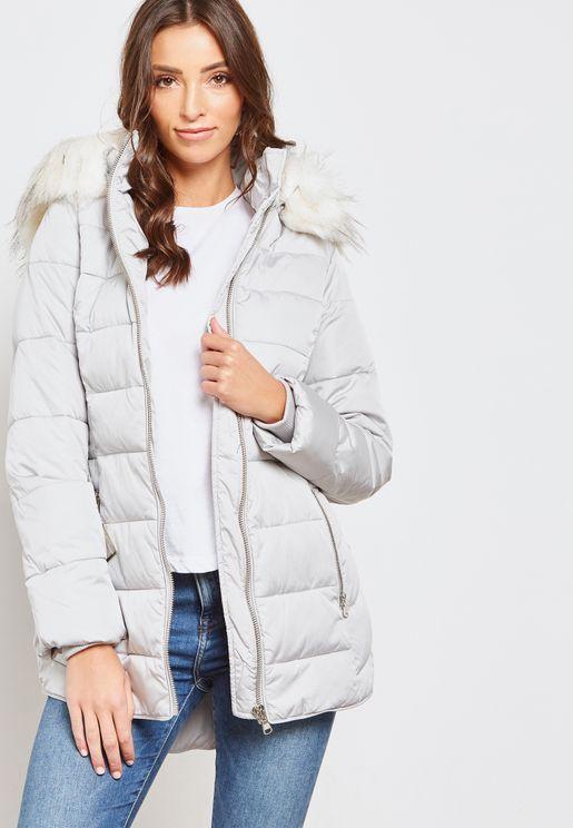 Longline Belted Puffer Jacket