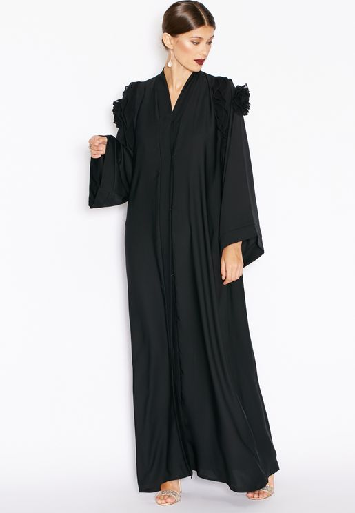 Ruffle Shoulder Abaya