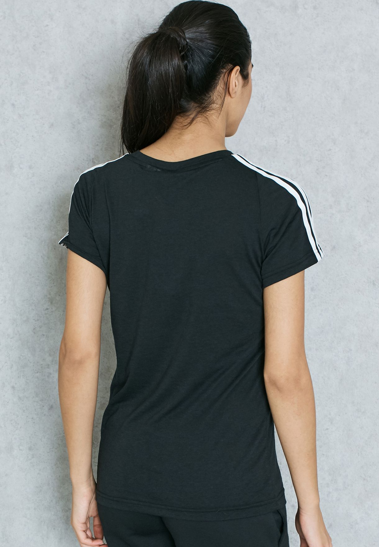 Shop adidas black Essential 3 Stripe Slim T-Shirt S97183 for Women ... 2a88be9baa4d