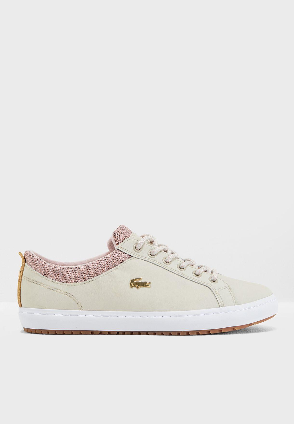 91e19fe5e Shop Lacoste beige Straightset Insulate 3181 Caw Sneaker 736CAW0042 ...