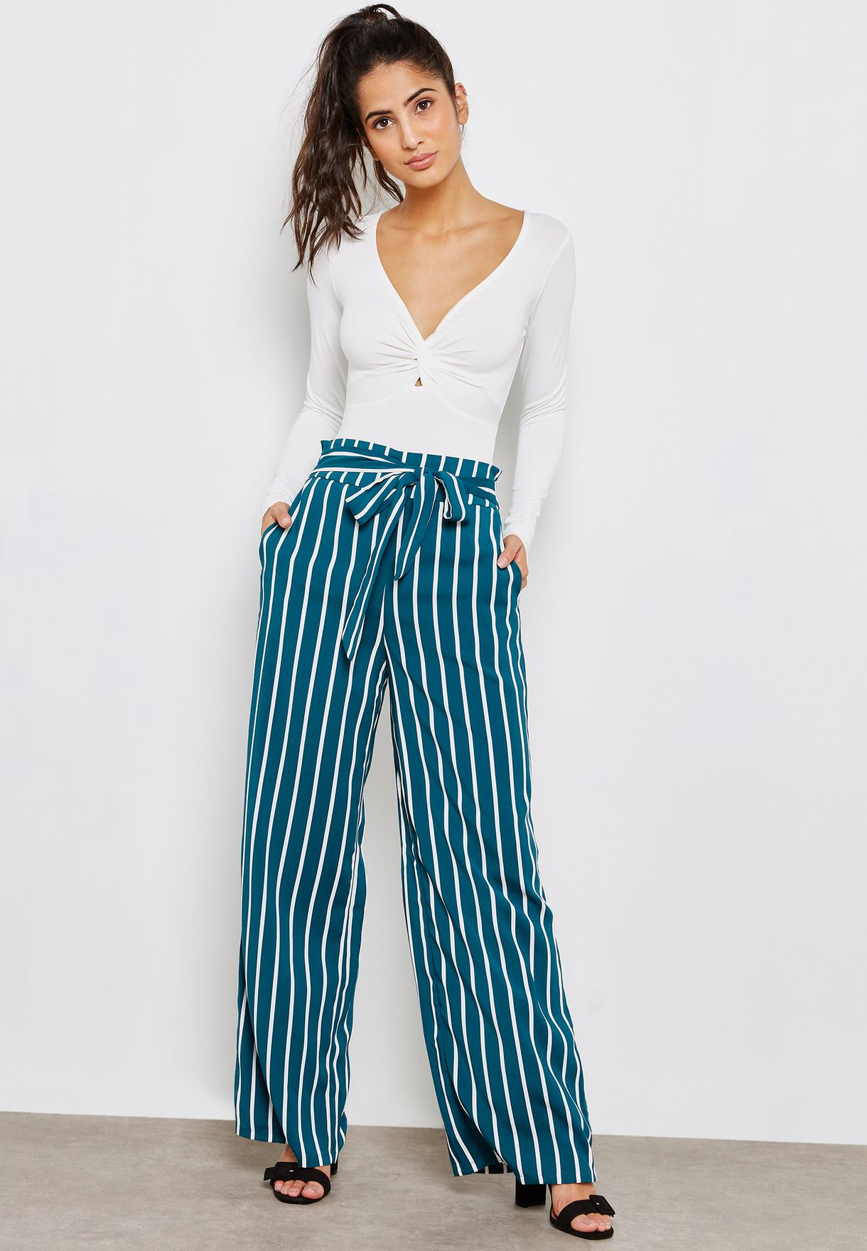 b6b56fb7c59 Shop Forever 21 prints Striped Palazzo Pants 242245 for Women in ...
