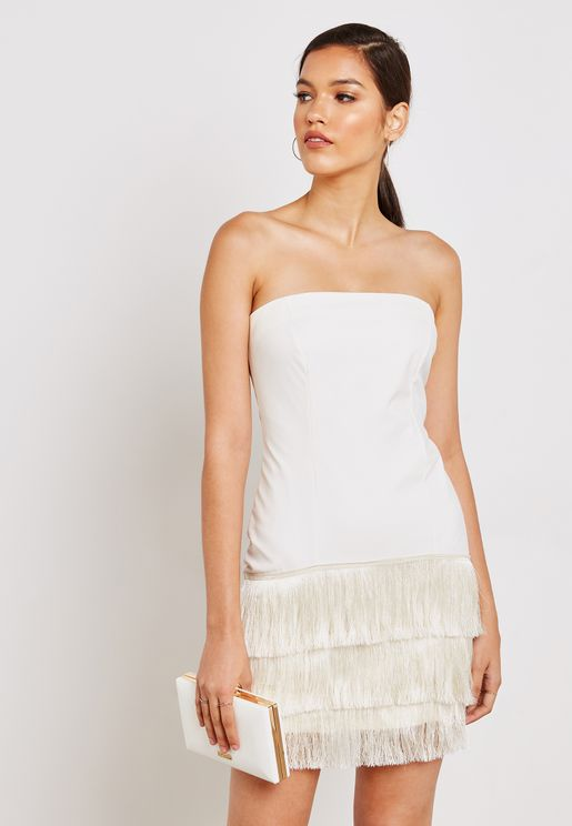 PU Fringed Hem Dress