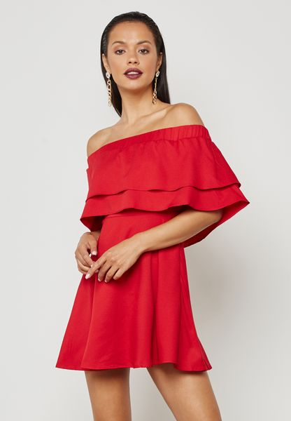 Ruffle Bardot Swing Dress