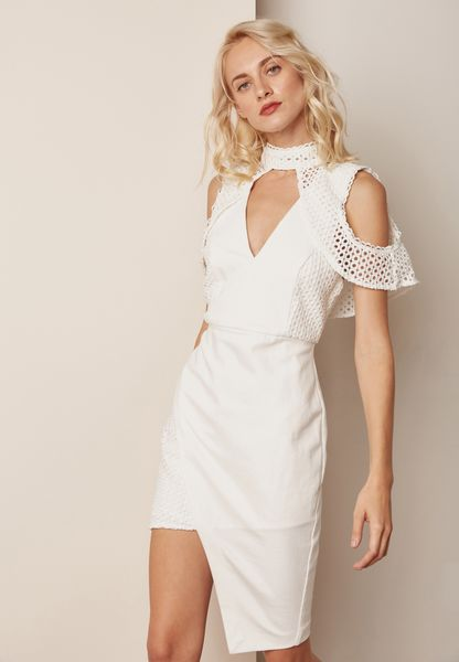 High Neck Cold Shoulder Asymmetric Dress
