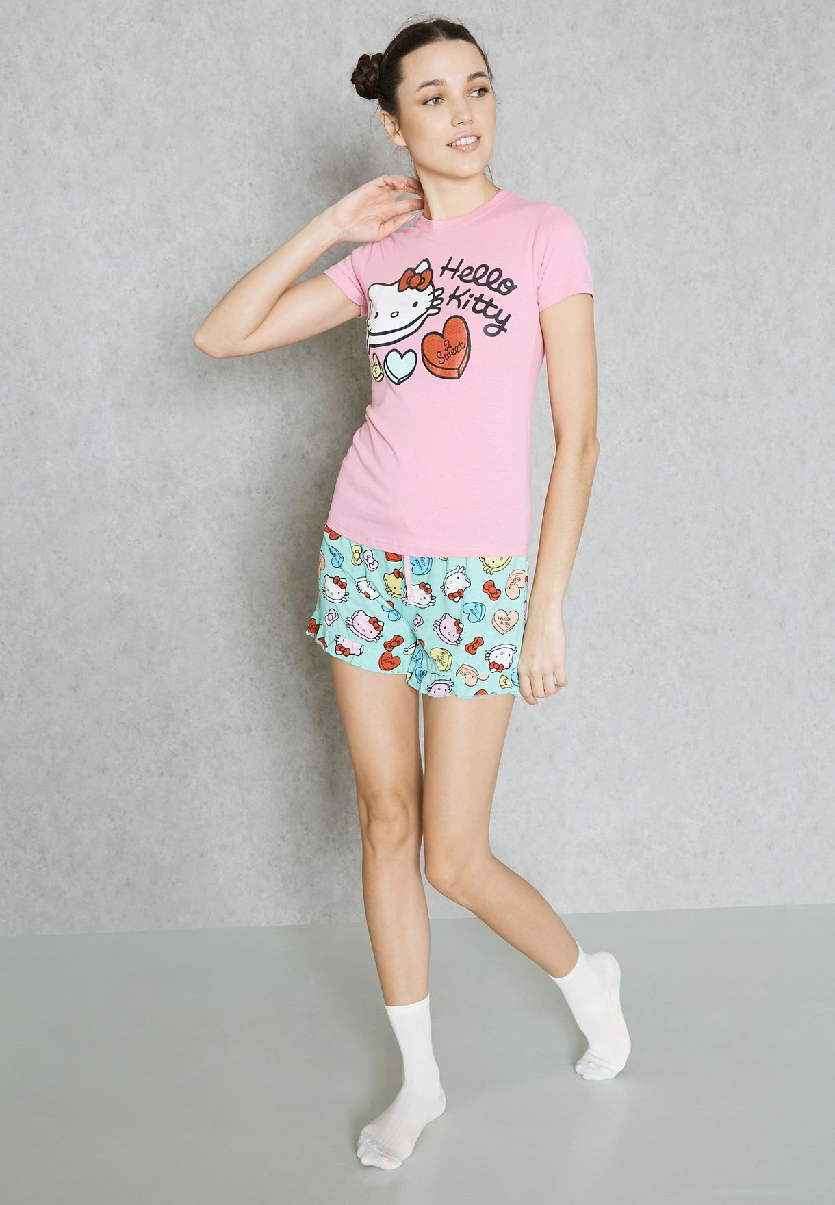 b1b4a8a90 Shop Hello Kitty multicolor Printed Pyjama Shorts Set MGTACC04 for ...